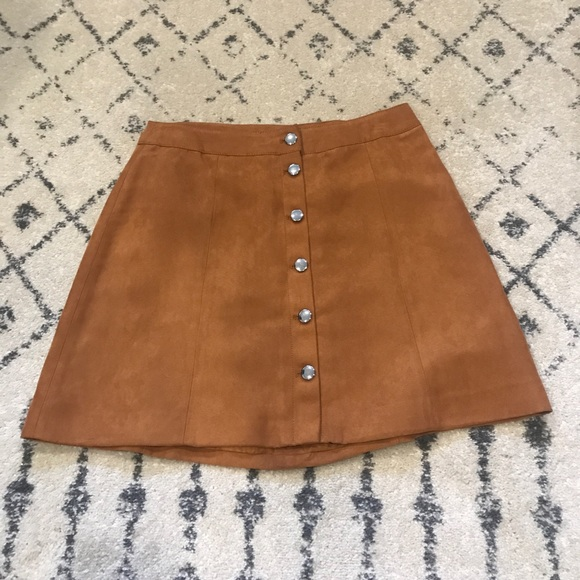 H&M Dresses & Skirts - H&M | Faux Suede Tan Button Front Skirt | 10